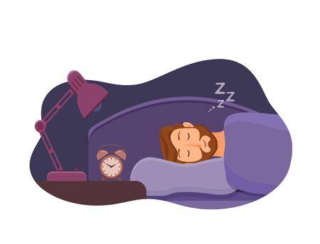 Sleepless man face cartoon character suffers from insomnia. Illusztráció