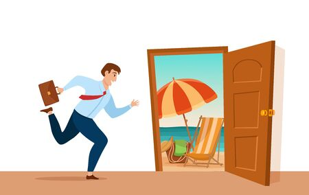Businessman run to open door with summer nature valley landscape vacation cartoon concept. Vectores