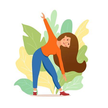 Young girl doing yoga pose meditation  illustration. Иллюстрация