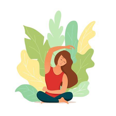 Young girl doing yoga pose meditation illustration.
