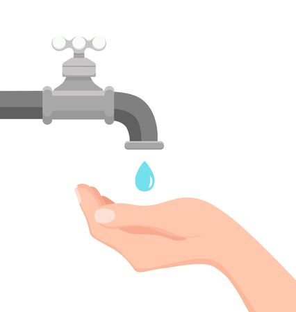illustration of faucet and hand holding a falling drop of water.