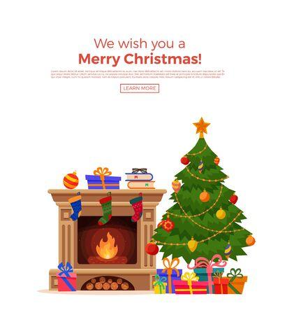 Árbol de Navidad con luces y regalos. Ilustración de vector