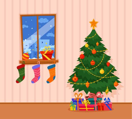 Christmas tree decorated  illustration