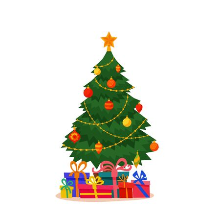 Christmas tree decorated vector illustration. Vettoriali