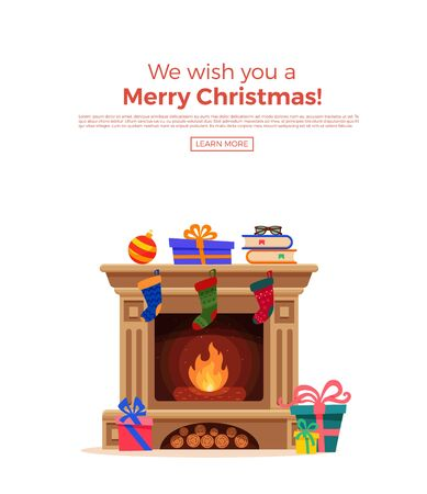 Christmas fireplace room interior in colorful cartoon flat style.