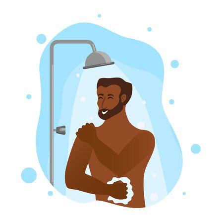 Giovani uomini afroamericani che prendono l'illustrazione di vettore del fumetto della doccia.