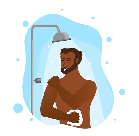 Young African American men taking shower cartoon vector illustration.