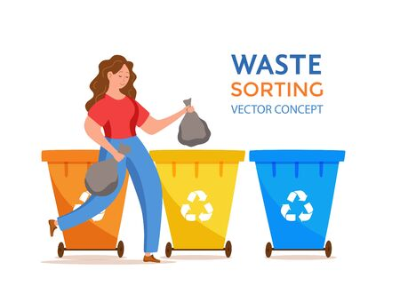 Young woman throwing garbage into containers vector illustration. Ilustração