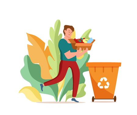 Young men throwing plastic garbage into containers vector illustration
