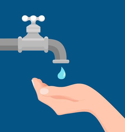 Vector illustration of faucet and hand holding a falling drop of water. Archivio Fotografico - 138449706