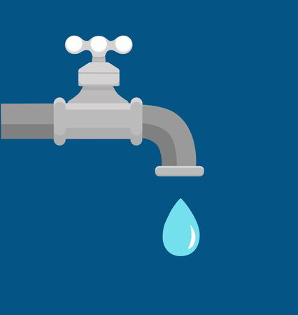 Vector illustration of faucet and a falling drop of water. Archivio Fotografico - 138449708