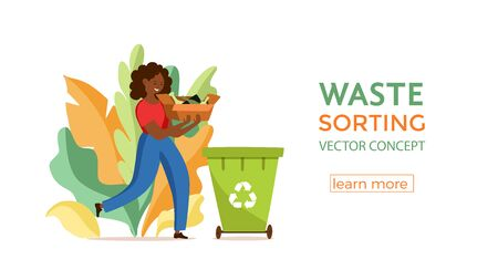 Young afro American woman throwing glass garbage into containers vector illustration. Waste management concept with eco-friendly girl sorting waste into different tanks. Ecological infographic