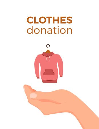 Cloth donation vector colorful cartoon style concept. Illustration