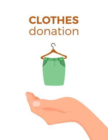 Cloth donation vector colorful cartoon style concept.