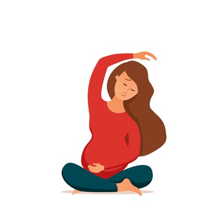 Young pregnant woman practicing yoga cartoon style vector illustration.