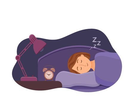 Sleeping woman face cartoon character happy girl have a sweet dream.  イラスト・ベクター素材
