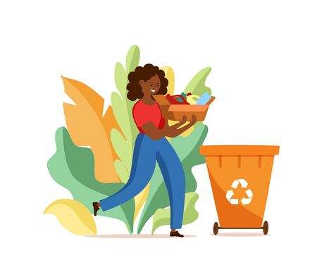 Young afro American woman throwing plastic garbage into containers vector illustration