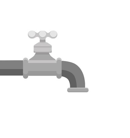 illustration of faucet and a falling drop of water. Flat design of tap with liquid clean background. Kitchen and bathroom steel pipe cleaning and washing concept Illustration