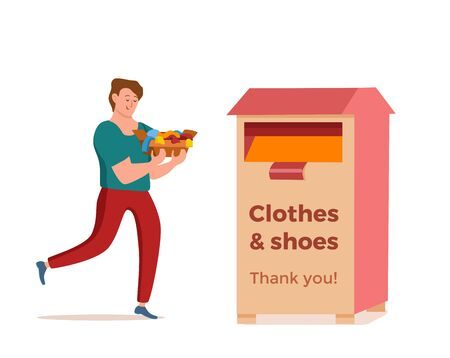 Cloth donation vector colorful cartoon style concept. Illustration of guy with box of her old dress putting it into donation bin. Social care and charity design. Swap party or volunteers template. Иллюстрация