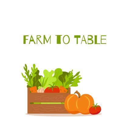 Basket with vegetables colorful cartoon vector illustration. Vector Illustration