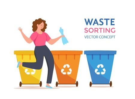 Young woman throwing plastic garbage into containers vector illustration