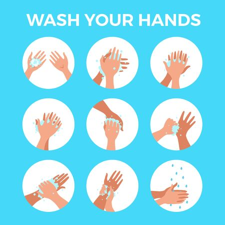 Washing hands with soap and water properly cartoon vector illustration. Flat medical care hygiene personal skin cleaning procedure colorful concept. Virus prevention protection steps design template Vettoriali