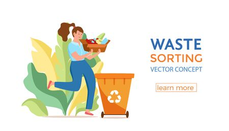 Young woman throwing plastic garbage into containers vector illustration. Waste management concept with eco-friendly girl sorting waste into different tanks. Ecological infographic for save the Earth design