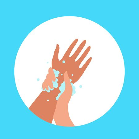 Washing hands with soap and water properly cartoon vector illustration. Flat medical care hygiene personal skin cleaning procedure colorful concept. Virus prevention protection steps design template