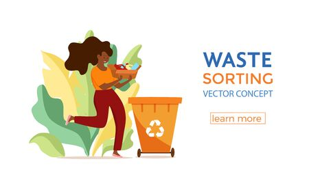 Young afro American woman throwing plastic garbage into containers vector illustration.