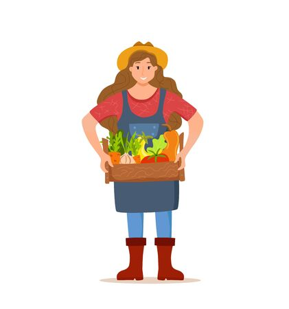Eat local organic products cartoon vector concept. Colorful illustration of happy farmer 일러스트