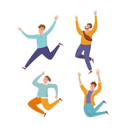 Happy young guys jumping in different poses vector illustration. Cartoon concept of joyful laughing men with raised hands. Flat positive boys lifestyle design for party, sport, dance, happiness, success