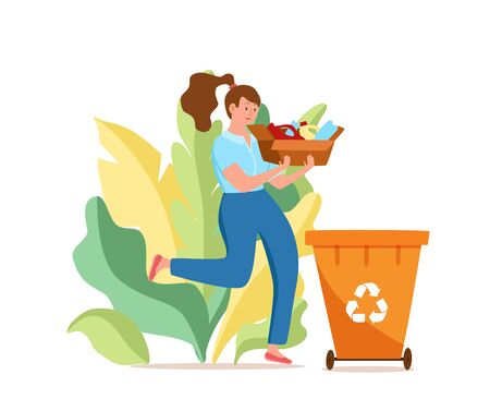 Young woman throwing plastic garbage into containers vector illustration.