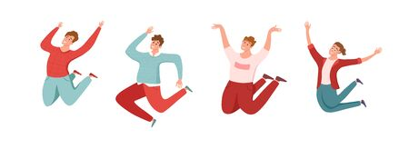 Happy young guys jumping in different poses vector illustration.