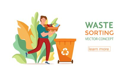 Young men throwing plastic garbage into containers vector illustration.