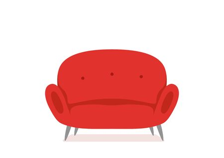 Sofa and couch red colorful cartoon illustration vector.