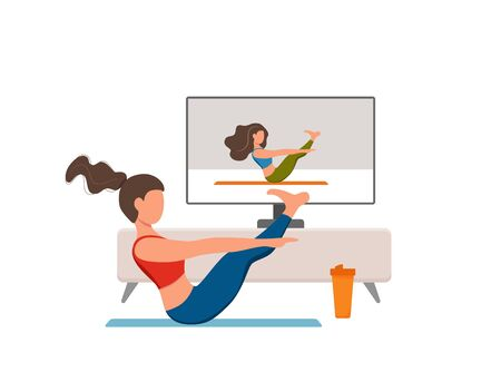 Online fitness yoga classes vector concept. Stay home girl doing exercises looking at screen cartoon flat illustration. Healthy and wellness lifestyle design concept with woman at domestic interior 向量圖像