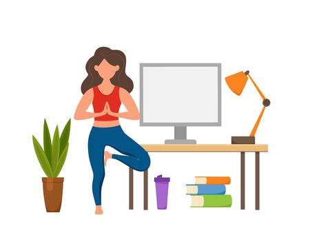 Online fitness yoga classes vector concept. Stay home girl doing