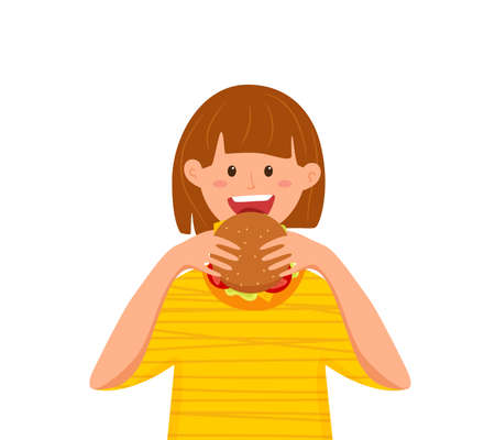 Kid biting burger fast food vector illustration. Colorful cartoon style concept of happy hungry girl eating launch and holding hamburger in his hands for advertising, restaurant menu. Design template 向量圖像
