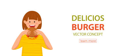 Kid biting burger fast food vector illustration. Colorful cartoon style concept of happy hungry girl eating launch and holding hamburger in his hands for advertising, restaurant menu. Design template