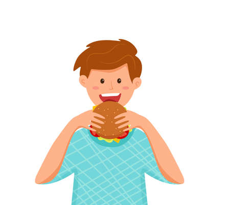 Kid biting burger fast food vector illustration. Colorful cartoon style concept of happy hungry boy eating launch and holding hamburger in his hands for advertising, restaurant menu. Design template