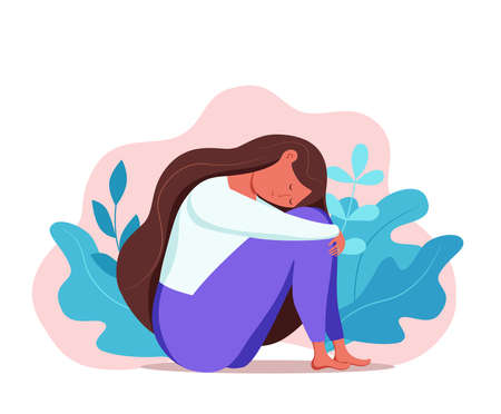 Depressed sad lonely woman in anxiety, sorrow vector cartoon illustration. 向量圖像