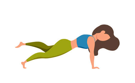 Girl practicing yoga asana poses and healthy lifestyle cute cartoon 向量圖像