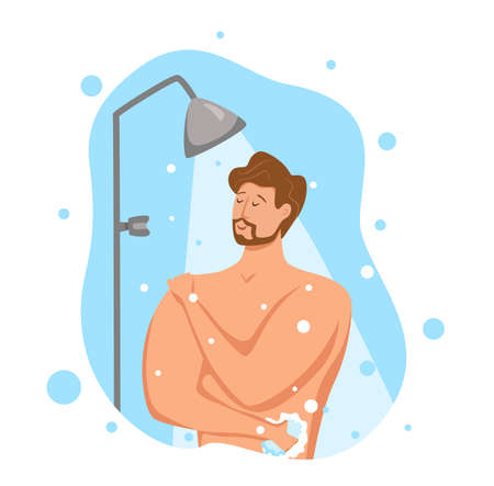 Man taking shower in bathroom. Vector illustration of happy guy washing himself with shampoo and soap.
