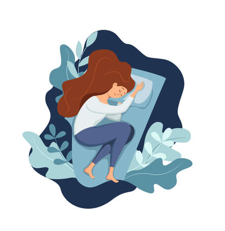 Woman sleep in bed at night vector illustration. Girl in pajama having a sweet dream in bedroom. Vektorgrafik