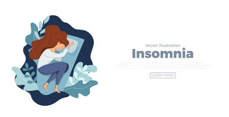 Sleepy awake woman in bed suffers from insomnia. Vector illustration