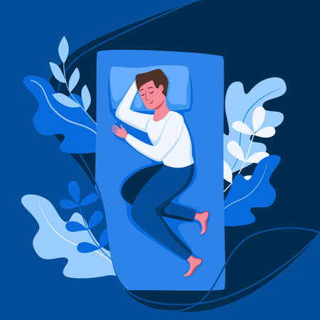 Man sleep in bed at night vector illustration. Guy in pajama having a sweet dream in bedroom 向量圖像