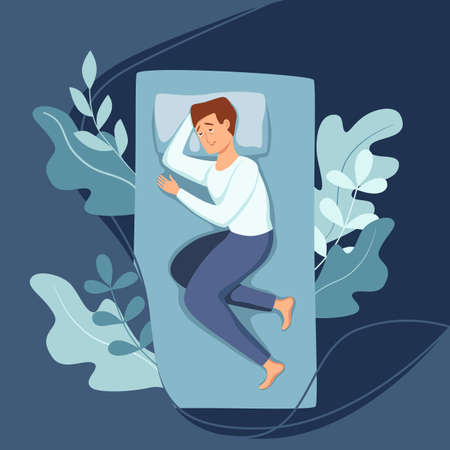 Sleepy awake man in bed suffers from insomnia. Vector illustration of tired exhausted sad guy insomniac