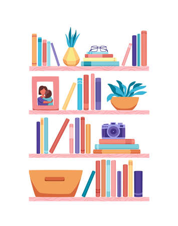 Bookshelves vector wall design for bestsellers in store, classroom, office, library, school, house interior.