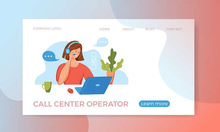 Call center operator vector illustration. Customer online support manager woman 向量圖像
