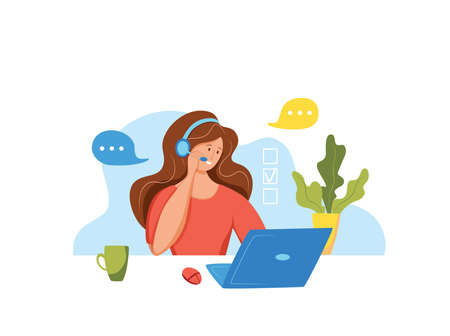 Call center operator vector illustration. Customer online support manager woman working in headphones with microphone in customer support office cartoon flat concept for web, banner, landing page. 向量圖像